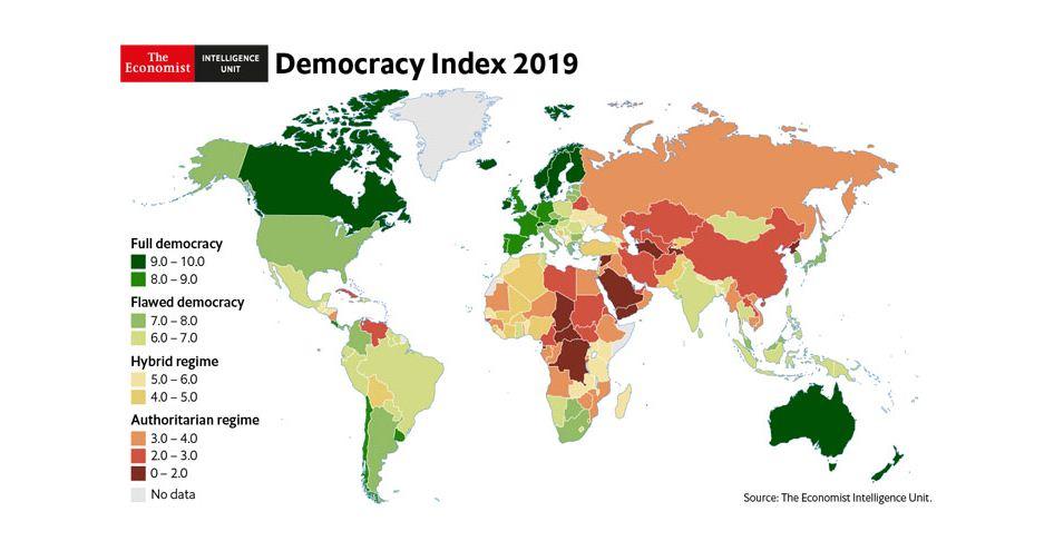 کاهش شاخص دمُکراسی در جهان