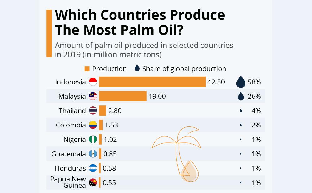 کشورهایی با بیشترین تولید «روغن پالم»